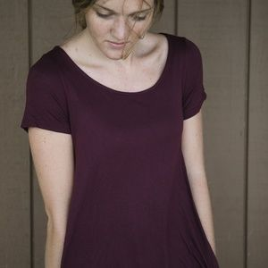 Burgundy Simple Mini Dress with Pockets